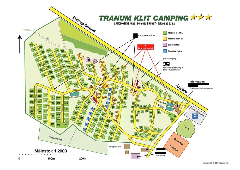 kort over campingpladsen